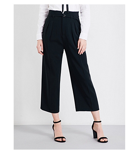 RED VALENTINO Cropped high-rise crepe trousers (Nero