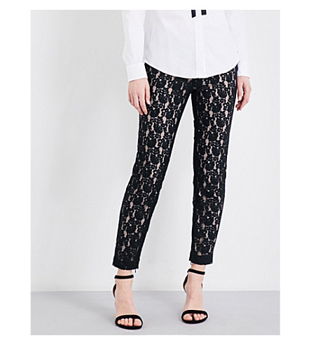 RED VALENTINO Tapered high-rise lace trousers (Nero
