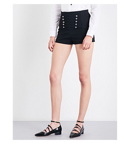RED VALENTINO High-rise military-trim twill shorts (Nero+nero