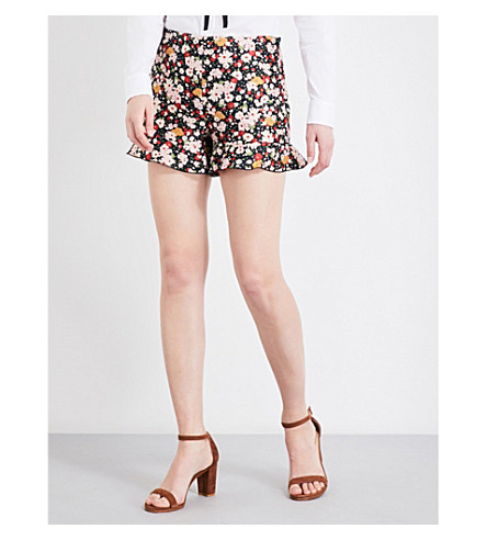RED VALENTINO Floral-printed high-rise jacquard shorts (Nero