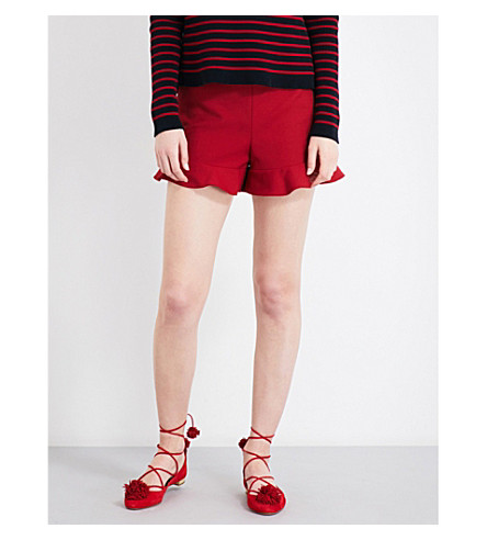 RED VALENTINO Ruffled high-rise twill shorts (Lacca