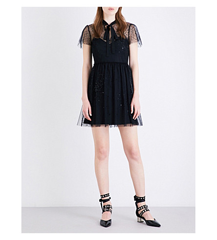 RED VALENTINO Abito lace and tulle dress (Nero