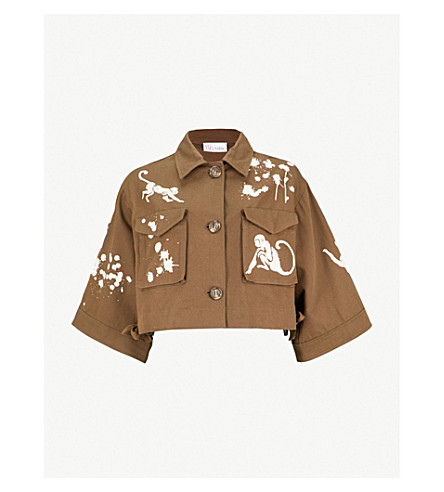 RED VALENTINO Monkey-motif cropped cotton-drill jacket (Military+green