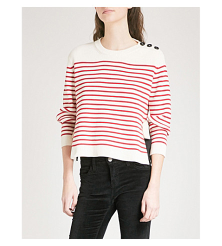 RED VALENTINO Bow-detail striped cotton jumper (Ivory+red