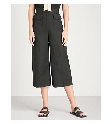 RED VALENTINO Wide-leg cotton-blend trousers (Black