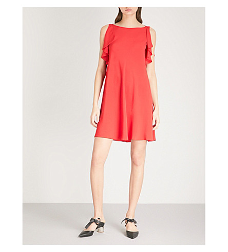 RED VALENTINO Frill-detail sleeveless crepe mini dress (Red