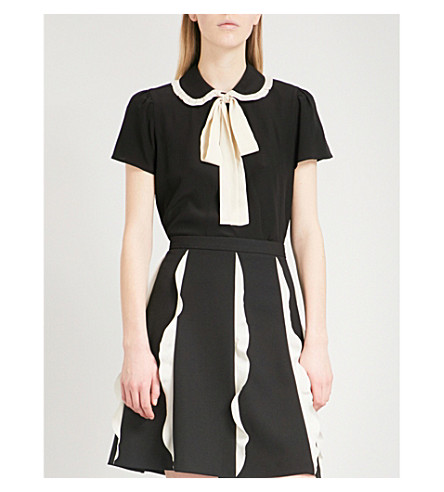 RED VALENTINO Peter Pan-collar silk blouse (Nero/avorio