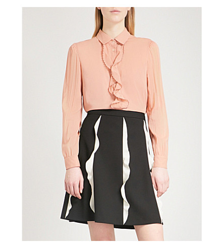 RED VALENTINO Ruffled silk-blend blouse (Cipria