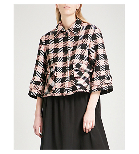 RED VALENTINO Checked cropped wool jacket (Cipria