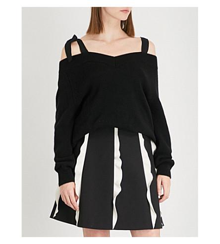 RED VALENTINO Cold-shoulder wool jumper (Nero