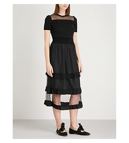 RED VALENTINO Abito lace and crepe maxi dress (Nero