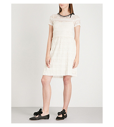 RED VALENTINO Pleated lace dress (Avorio