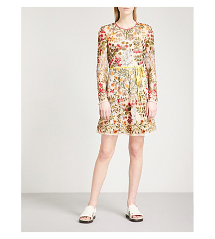 RED VALENTINO Floral-embroidered mini dress (Soya