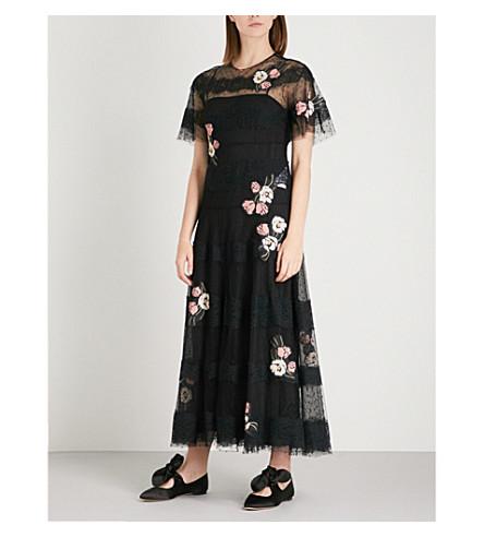 RED VALENTINO Floral-appliquéd lace maxi dress (Nero