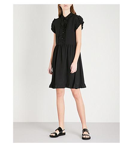 RED VALENTINO Ruffled silk mini dress (Nero