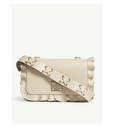 RED VALENTINO Rock Ruffles leather shoulder bag (Cream