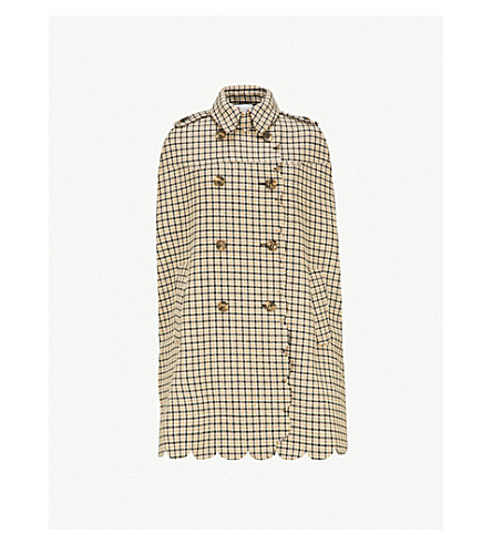 RED VALENTINO Checked wool-blend cape (Yellow