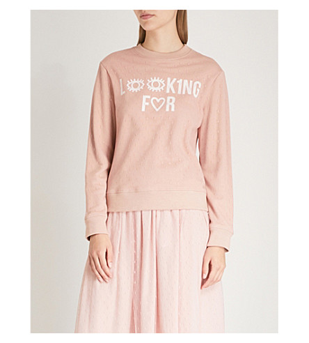 RED VALENTINO Looking For stretch-cotton sweatshirt (Nude