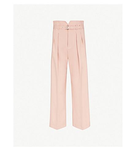 RED VALENTINO 皮带高腰九分款绉裤子 (粉红色