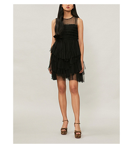 RED VALENTINO Layered tulle mini dress (Black