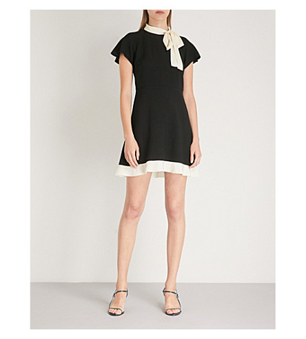 RED VALENTINO Bow-detail crepe mini dress (Black