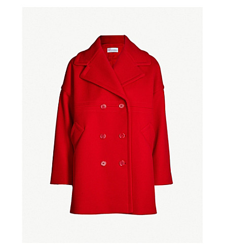 RED VALENTINO Double-breasted cotton-blend coat (Red
