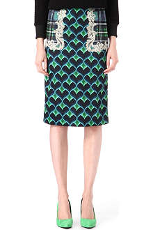 EMMA COOK Bargello printed pencil skirt