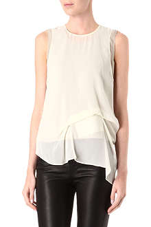 ACNE Draped-front silk top
