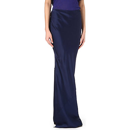 ACNE Irma silk maxi skirt (Navy