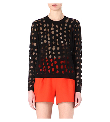ACNE Ninah sheer-spots jumper (Black