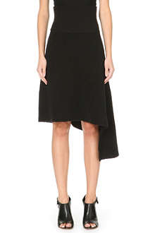 ACNE Grid asymmetric wool skirt