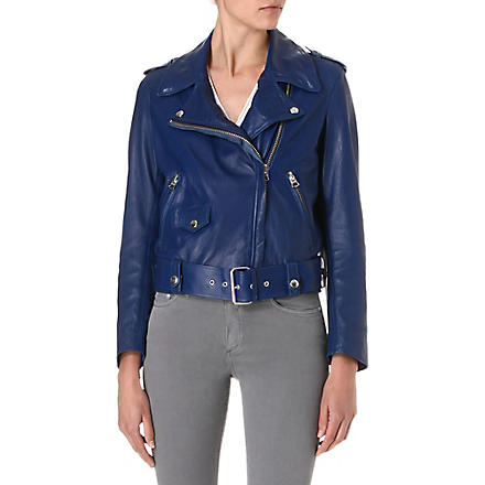 ACNE Mape leather biker jacket (Blue