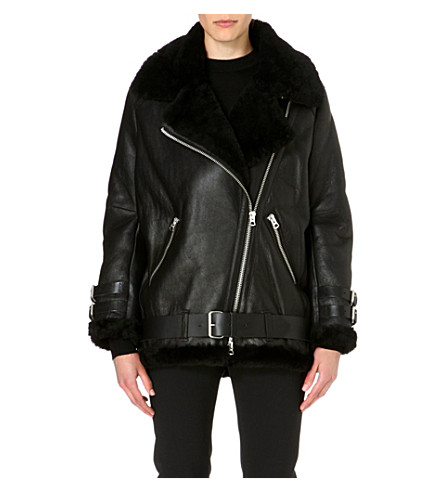 ACNE Oversized leather jacket (Black