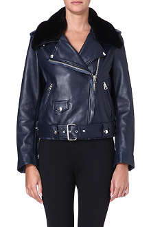 ACNE Shearling-collared leather jacket