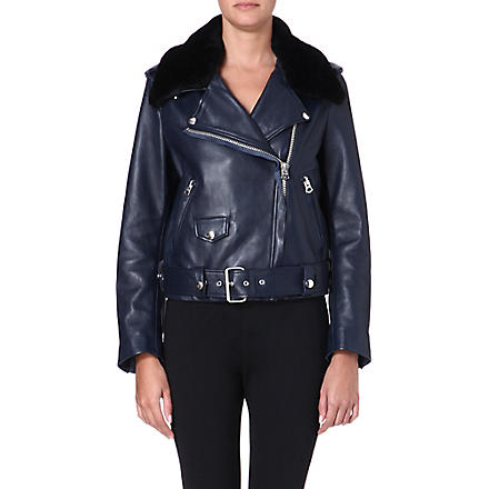 ACNE Shearling-collared leather jacket (Midnight blue/blk