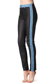 ACNE Lea leather and denim skinny trousers