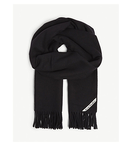 ACNE STUDIOS 流苏羊毛围巾 (黑色