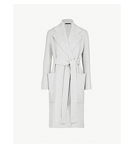 ACNE STUDIOS Carice wool and cashmere blend wrap coat (Grey+melange