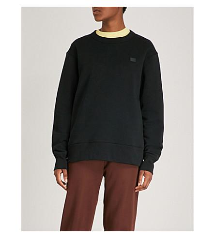 ACNE STUDIOS Fairview Face logo-patch cotton-jersey sweatshirt (Black