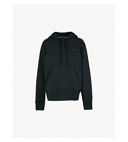ACNE STUDIOS Ferris Face logo-patch cotton-jersey hoody (Black
