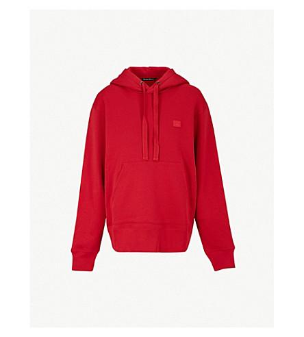 ACNE STUDIOS 摩天面徽标补丁平纹针织棉帽衫 (红宝石红色