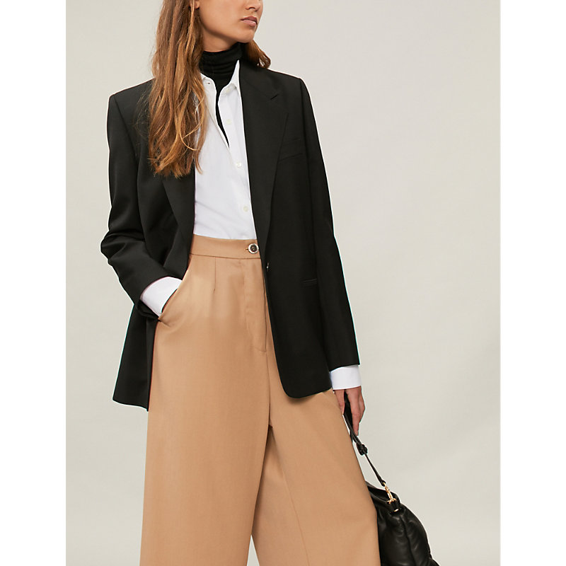 Padded-shoulder wool-blend blazer