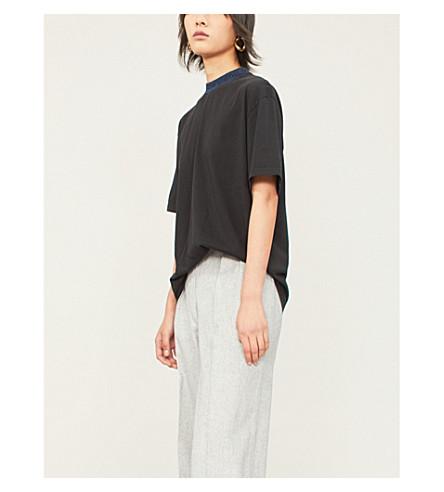 ACNE STUDIOS Gojini 标志打印平纹针织棉 T 恤 (黑色