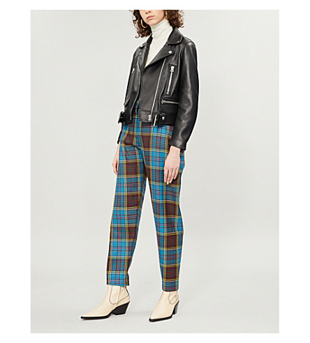 ACNE STUDIOS Mock cropped leather biker jacket (Black
