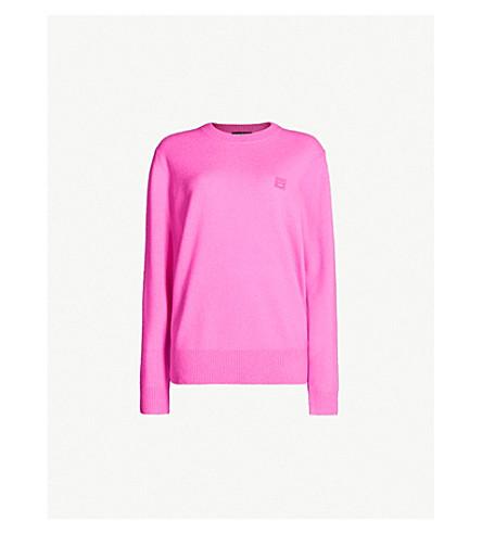 ACNE STUDIOS Nalon Face logo-patch wool sweater (Bri pink