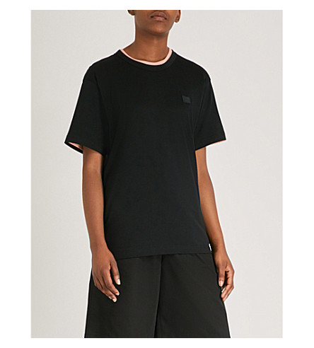 ACNE STUDIOS Nash Face oversized cotton-jersey T-shirt (Black