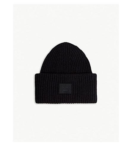 ACNE STUDIOS Pansy Face knitted wool beanie (Black