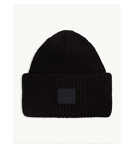 e94c4d1495c ... ACNE STUDIOS Pansy Face knitted wool beanie (Black. PreviousNext