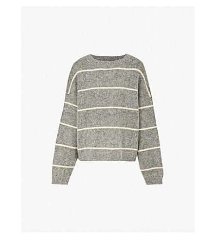 ACNE STUDIOS Rhira 条纹羊毛混纺毛衣 (灰色/米色