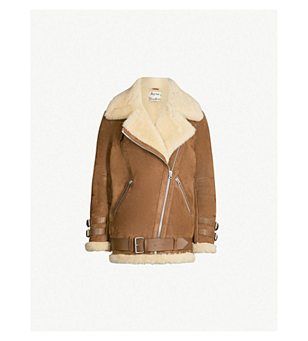 ACNE STUDIOS Velocite shearling-trimmed suede jacket (Brown/white